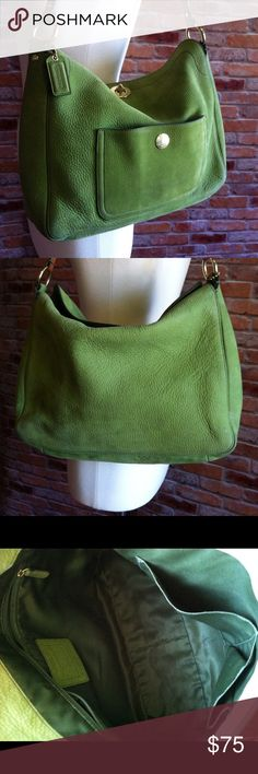 """Coach Hobo Nubuck green leather bag This is a show-stopping, Authentic Coach bag in a stunning color. Peridot green Nubuck leather. This bag has been loved, signs of wear shown in pics, but still has a lot of life left. 2 interior pockets plus zipper pocket. One outside pocket with gold Coah logo hardware.Hobo bag with plenty of room! Measures 14""""L, 11""""H plus strap drop 8"""". Tan leather adjustable strap with gold hardware. Coach Bags Shoulder Bags"""