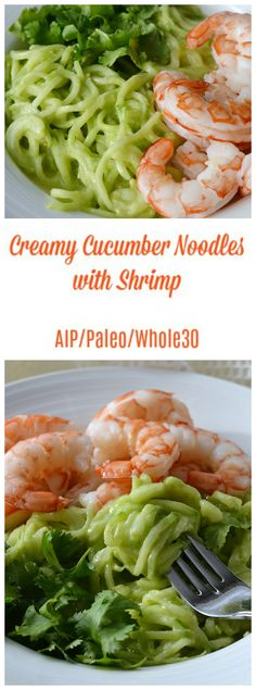 Creamy Cucumber Noodles with Shrimp