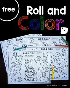 Get five free winter-themed roll and color games for preschool and kindergarten!