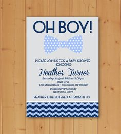 Oh Boy Baby Shower Downloadable Invitation by JMCustomInvites on Etsy