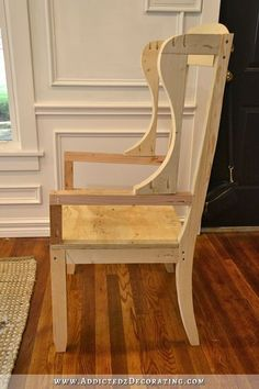DIY wingback dining chair – how to build a frame for an upholstered chair – 24 - diyyy furniture plans Building Furniture, Diy Furniture Plans, Furniture Upholstery, Upholstered Chairs, Furniture Projects, Furniture Makeover, Furniture Design, Wingback Chairs, Furniture Dolly
