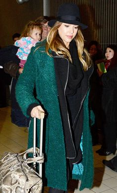 Jessica Alba Looking chic and staying warm! Alba bundled up against the chilly Paris temps after arriving on a January 19 flight from L.A.