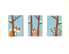 This hand painted set of three woodland animals on wood will make the perfect addition to your little ones woodland nursery or forest friends nursery! This set can be customized however youd like. Please feel free to contact me with any questions or requests. Woodland Nursery Art - Set of 3 Each painting measures 8x 12, 1/2 thick on stained oak. The trees are left unpainted, showcasing the natural grain and texture of the wood, complimenting the woodland creatures nursery theme perfectly…