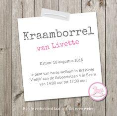 Kraamborrel kaartjes online eenvoudig maken http://pooz.nl/geboortekaartjes/Kraamborrel