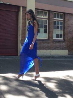 Zlata Moda silk Georgette, one shoulder dress, Karelea.  The gorgeous girl modeling the Zlata Moda design is Aaliyah Aly.