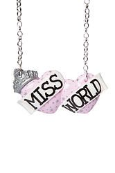 Miss World large double heart necklace