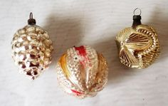 Antique/Vintage Blown Glass Christmas Tree Ornaments West Germany Lot Of 3