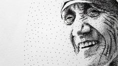 Mother Teresa Pen Pointillism - detail