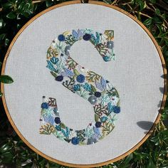 My second stab at creating a flower letter with mostly hues of blue. Diy Embroidery Letters, Basic Embroidery Stitches, Floral Embroidery Patterns, Hand Embroidery Videos, Embroidery Flowers Pattern, Simple Embroidery, Learn Embroidery, Embroidery Hoop Art, Hand Embroidery Flower Designs