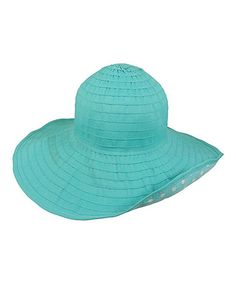 Turquoise Polka Dot Sun Hat Love this for the beach!