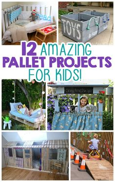 We have to make these!! 12 Pallet Projects for Kids!!