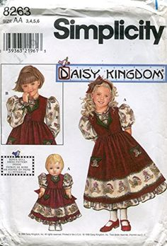 """Simplicity Daisy Kingdom Pattern 8263 Girls' Dress and Pinafore, and Matching 18"""" Doll Outfit"""