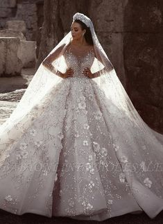 Luxurious Long Sleeve Wedding Dresses Ball Gown Flowers Crystal Wedding Dresses Item … – Famous Last Words Crystal Wedding Dresses, Sheer Wedding Dress, Luxury Wedding Dress, Wedding Dress Sleeves, Long Sleeve Wedding, Princess Wedding Dresses, Bridal Dresses, Bridesmaid Dresses, Prom Dresses