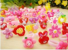 Wholesale Resin Ring - Buy 100 Mix Candy Colors Cartoon Rings for Girl's Children's Kids Birthday Party Gift Jewelry $0.24 | DHgate