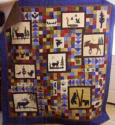 I made this quilt for an outdoors man and he wanted a quilt to show that. Quilt Baby, Panel Quilts, Quilt Blocks, Quilting Projects, Sewing Projects, Quilting Ideas, Quilting Board, Wildlife Quilts, Moose Hunting
