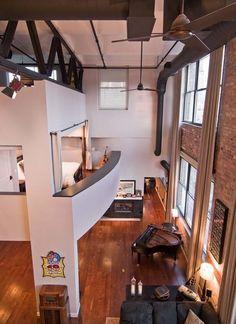 Лофт в Чикаго: вид из спальни