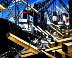 "Christopher Richard Wynne Nevinson (British, 1889 - ""Loading Timber, Southampton Docks"" Oil on canvas x 61 cm) Southampton City Art Gallery, United Kingdom. Art Prints For Sale, Fine Art Prints, Southampton City, Dulwich Picture Gallery, London Art Fair, Ww1 Art, Art Uk, City Art, Your Paintings"