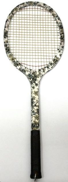 Decoupaged floral vintage tennis racket #tennis