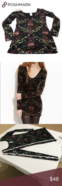 Free People Velvet Burnout Dress Valentines Day, M Free People Sexy Velvet Burnout Long sleeve dress, size medium. If you want to wow your man this Valentines Day, this dress will do it! It's black with pinks, gold, greens, red, and blue in a floral, scroll pattern. It's gorgeous and it shines! Believe me, if I had the body for this, I would keep it! It's in excellent preloved condition.  Measurements are approximate and more available upon request. Bundle for more savings and I'm open to…
