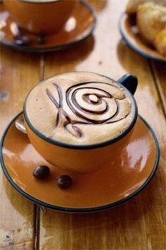 Coffee art and latte art - curves But First Coffee, I Love Coffee, Coffee Break, Best Coffee, Morning Coffee, Coffee Drinks, Coffee Cups, Coffee Coffee, Coffee Travel