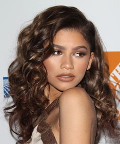 Zendaya Coleman Long Curly Hairstyle - Medium Brunette - side view