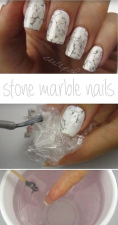 Super Easy Nail Art Ideas for Beginners - Stone Marble Nails - Simple Step By Step DIY Tutorials And Pictures For Nailart. Ideas For Every Style, All Hair Colors, Sparkle, Valentines, And other Awesome Products To Make It DIY and Super Easy - https://thegoddess.com/nail-art-ideas-beginners