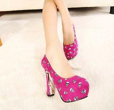 Casual Elegant Style Skull Color Block chunky Heel Platform Pumps | Riot Girl Apparel