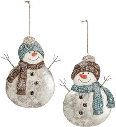 White, Blue and Brown Snowman Ornaments 7.5""