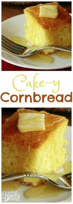 This cornbread is a perfect cross between a cake and cornbread. The texture is fluffy and smooth but has that yummy cornbread taste! via @favfamilyrecipz