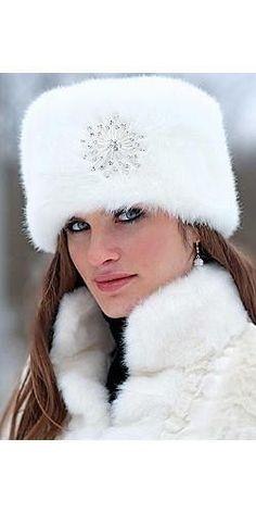 Russian white fur snow hat for ladies Russian Hat, Russian Fashion, Russian Style, Fur Fashion, Winter Fashion, Ladies Fashion, Fur Accessories, Fabulous Furs, Fancy Hats