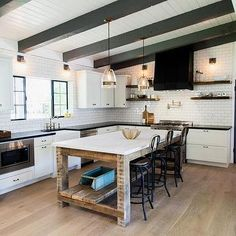 Reclaimed Wood Kitchen Island with Shelf and Marble Countertop