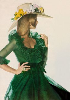 Photo by Irving Penn, 1968.1960's fashion #green dress #Hat #flowers