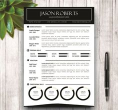 Black and White Resume Template by wordresume on @creativemarket