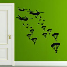 Military Army Helicopter Wall Decals Boy Child Bedroom Home Decor Sticker Paper #Budgettank #Modern