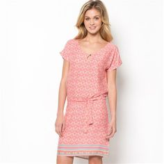 Printed Softly Draping Short-Sleeved Belted Dress