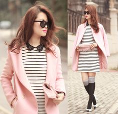 Choies Pink Coat, Romwe Lace Collar Striped Dress, Valentino Rockstud Clutch, Chanel Knot Heels