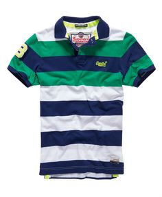 Shop Superdry Mens Double Stripe Hit Polo in Double Riviera Mix. Buy now with free delivery from the Official Superdry Store. Mens Polo T Shirts, Boys T Shirts, Polo Shirt Design, Le Polo, Boys Summer Outfits, Superdry Mens, Blazer Fashion, Swagg, Shirt Sleeves