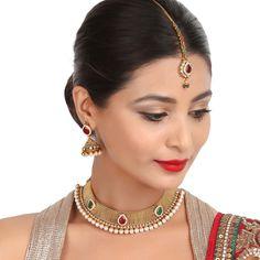 Antique Necklace 36320 #Kushals #Jewellery #Fashion #Indian #Jewellery #Necklace #Earrings #Designer #Fashion #choker #chain #Antique #Bridal #Festive #wedding