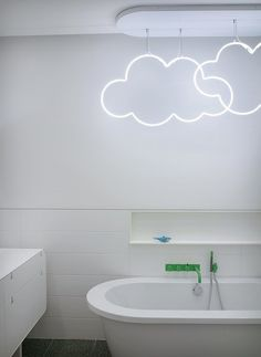 'Cloudy' neon bathroom light