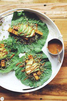 collard wraps with crispy orange tofu