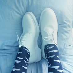 Docs 'n Socks shared by @bleuprince wearing the Dr. Martens all-white MONO 1461 Shoe.