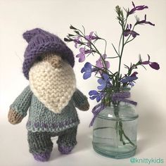 """Gudrun Dahle's Instagram photo: """"💜 And now, back to lavender and green 💜 . (Gnitty gnome has sold)"""" Then And Now, Gnomes, Lavender, Teddy Bear, Dolls, Knitting, Green, Kids, Instagram"""