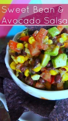 Vegan Sweet Bean and Avocado Salsa #superbowl