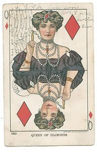 A charming vintage postcard featuring a playing card illustration in which the Queen of Diamonds is represented by an elegant and wealthy turn-of-the-century lady. The Stamp and Coin Place | $9.99