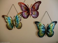3 IRON BUTTERFLY WALL PLAQUES GARDEN YARD DECOR  17.3 X 21 IN. BLUE PINK GOLD