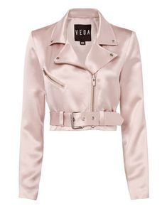 A pink satin sheen adds a feminine charm to this cropped moto jacket. One chest zip pocket. Kpop Fashion Outfits, Girls Fashion Clothes, Stage Outfits, Mode Outfits, Girl Outfits, Steampunk Fashion, Lolita Fashion, Emo Fashion, Gothic Fashion