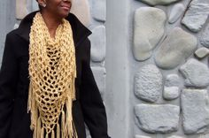 Gold Triangle Scarf, Shawl, Wrap, Crochet Scarf, Triangle Cowl, Fringe Scarf by glaccessories on Etsy
