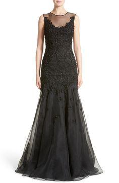New CARMEN MARC VALVO COUTURE Carmen Marc Valvo Floral Appliqu? Trumpet Gown fashion online. [$3395]?@shop hoodress<<
