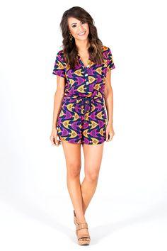 b2e9542b510 Shona Short Sleeve Romper By Tracy Negoshian Designer Dresses