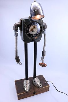 found object SAD ROBOT industrial lamp sculpture ASSEMBLAGE